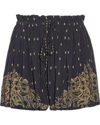 Etoile Isabel Marant Richie Printed Silk Chiffon Shorts - Lyst
