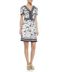 Tory Burch Floral V-Neck Sheath Dress - Lyst