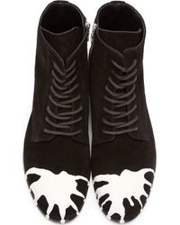 Miharayasuhiro - Black and White Dropped Paint Combat Boots - Lyst