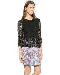 Sea Combo Lace Sleeve Top - Black - Lyst
