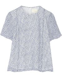 Band Of Outsiders Printed Silk-chiffon Top - Lyst