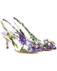 Dolce & Gabbana Bellucci Printed Brocade Slingbacks - Lyst
