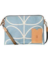 Orla Kiely Etc Giant Linear Stem Travel Pouch Shoulder Bag - Blue