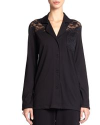 Cosabella Ravello Lace-Trimmed Pajama Top - Lyst