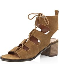 River Island | Light Brown Leather Ghillie Lace Up Sandals | Lyst