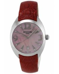 Rochas - Womens Pink Mother Of Pearl Dial Red Leather Watch - Lyst