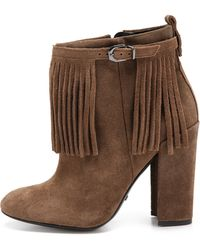 Schutz Paola Fringe Booties  Yucca - Lyst