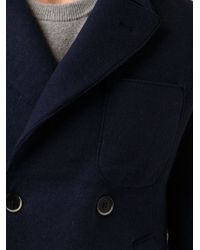 Barena Double Breasted Peacoat - Blue