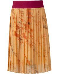 Boo Pala Orange Strata Hues Pleated Midi Skirt brown - Lyst