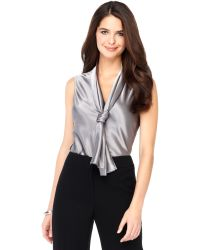 Nine West Sleeveless Tie Neck Blouse - Lyst