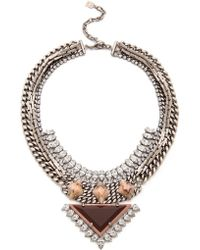 DANNIJO - Joss Necklace Silvercrystaldual Nude - Lyst