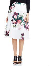 Vince Camuto Rose Bouquet A-line Midi Skirt - Multicolor
