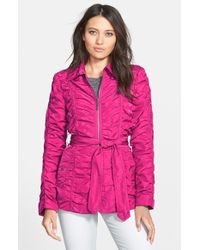 Betsey Johnson Ruched Belted Zip Front Jacket - Lyst