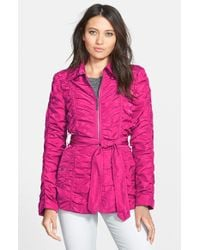 Betsey Johnson Ruched Belted Zip Front Jacket purple - Lyst