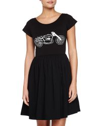 French Connection Fit-and-flare Motorcycle Jersey Dress - Lyst