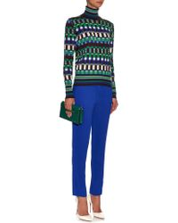 Jonathan Saunders - Rene Square-jacquard Wool-blend Sweater - Lyst