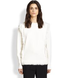 Chloé Fringe-Trimmed Wool Sweater - Lyst