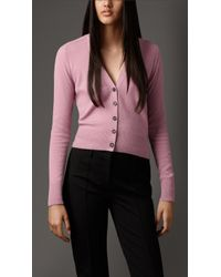 Burberry Cropped Cashmere Cardigan - Lyst