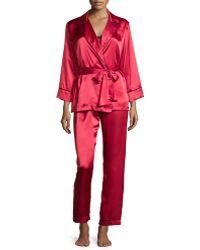 Oscar de la Renta Charmeuse 3-piece Pyjama Set - Red