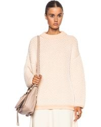 Chloé Structured Cotton Knit Over Sized Cotton Blend Sweater - Lyst