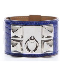 Hermès Pre-Owned Alligator Collier De Chien Cdc Bracelet blue - Lyst