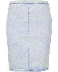 Topshop Petite Moto Mid Stone Acid Wash Denim Skirt  - Lyst