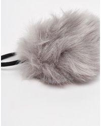 Pieces - Veri Faux Fur Pom Hairband - Lyst