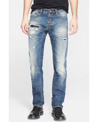 Just Cavalli Leather Patch Destroyed Straight Leg Jeans - Lyst