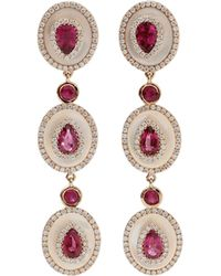 Inbar - Rubelite And Mother Of Pearl Drop Earrings - Lyst