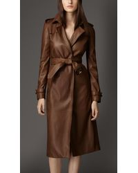 Burberry Lambskin Wrap Trench Coat - Lyst
