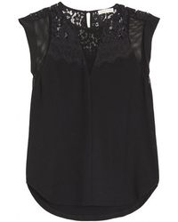 Rebecca Taylor Jersey Mesh Lace Top - Lyst
