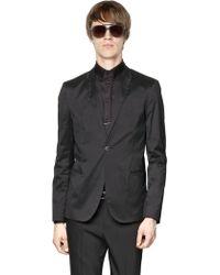 Emporio Armani Stretch Silk Blend Satin Jacket - Lyst