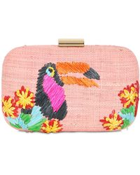 Serpui Toucan Embroidered Straw Clutch - Pink