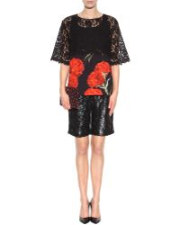 Dolce & Gabbana Lace and Cotton Printed Top - Lyst