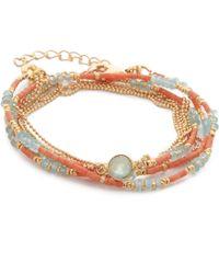 Sogoli | Stone Beaded Wrap Bracelet - Coral/blue | Lyst