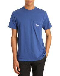 Obey Follen T-shirt Navy Blue Pocket - Lyst