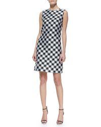 Michael Kors Houndstooth Jersey Dress - Lyst