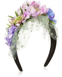 Piers Atkinson - Flower-Embellished Satin And Point D'Esprit Headband - Lyst