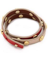 Tory Burch Double Wrap Logo Stud Bracelet - Cocoa Brown/Black/Shiny Brass - Lyst