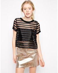 Girls On Film Sheer Stripe Top - Black