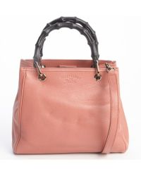 Gucci Lotus Leather Wooden Accent Convertible Top Handle Bag - Lyst