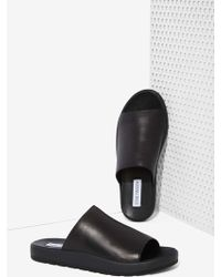 Nasty Gal Steve Madden Flavor Leather Slide Sandals - Lyst