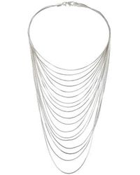 Topshop Skinny Silver Multi-Row Necklace silver - Lyst