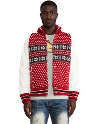 Mostly Heard Rarely Seen Glacial Varsity Jacket - Red