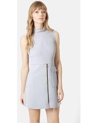Topshop Raw Edge Zip Front Sleeveless Sheath Dress - Lyst