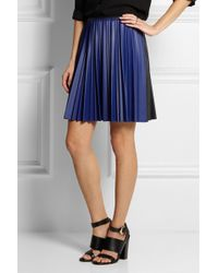 Cedric Charlier Color-block Pleated Faux Leather Mini Skirt - Lyst