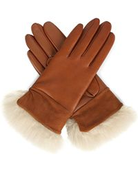 Ugg Quinn Leather Cashmere-lined Gloves - Lyst