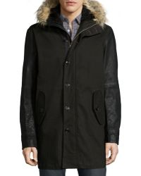 John Varvatos - Button-down Parka With Faux-fur Lined Hood - Lyst