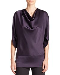 Vera Wang Draped Silk Charmeuse Top purple - Lyst