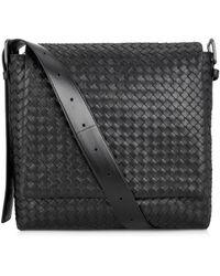 Bottega Veneta Intrecciato Leather Messenger Bag - Lyst
